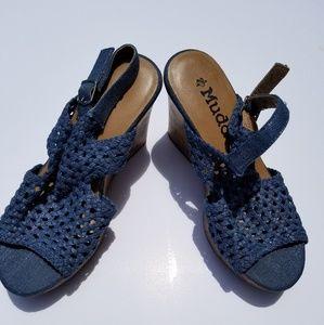 Blue crocheted wedge sandals